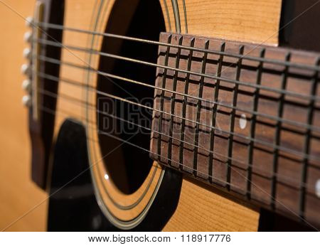 Classical Acoustic Guitar Close Up Isolated On A White Background