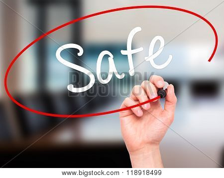 Man Hand Writing Safe With Black Marker On Visual Screen