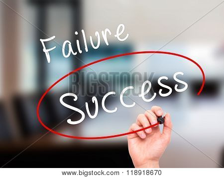 Man Hand Writing And Choosing, Success Instead Of Failure, With Black Marker On Visual Screen