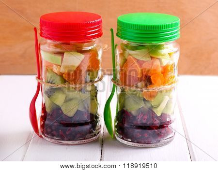 Fruits Layered In Glass Jars