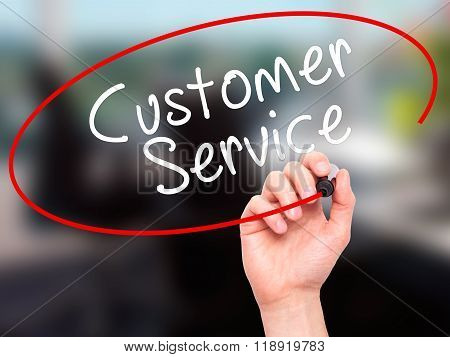 Man Hand Writing Customer Service With Black Marker On Visual Screen