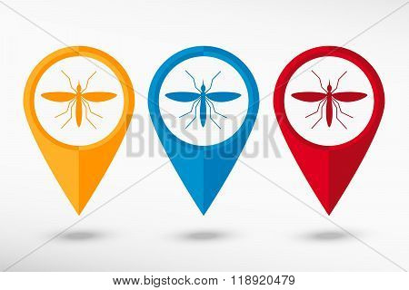 Mosquito Map Pointer, Vector Illustration