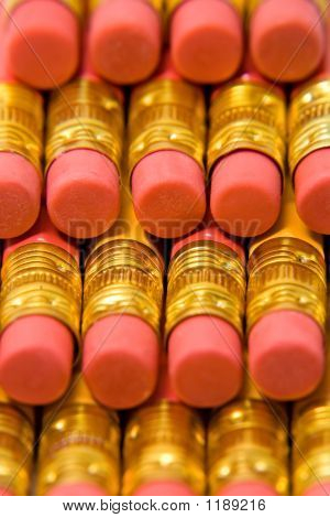 Pink And Gold Pencil Erasers