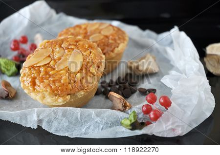Sliced Almonds Tart On Tray
