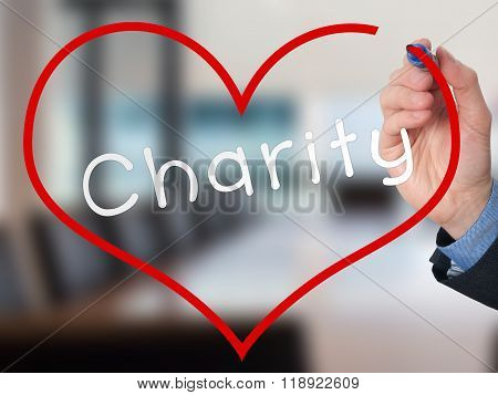 Hand Writing Charity Inside Heart Shape