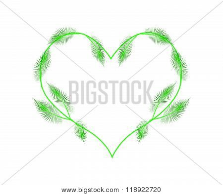 Lovely Green Palm Leaves In A Heart Shape