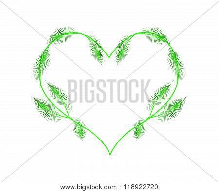 Lovely Green Palm Leaves In A Heart Shape