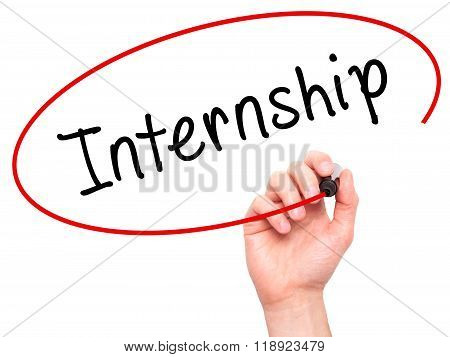 Man Hand Writing Internship With Marker On Visual Screen
