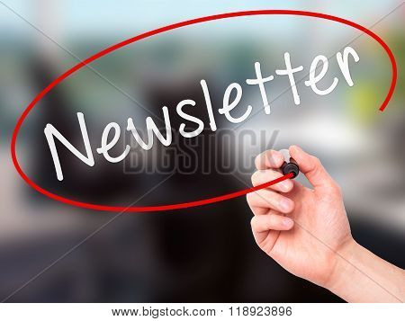 Man Hand Writing Newsletter On Visual Screen