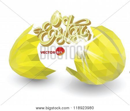Cracked golden eggshell. Broken easter eggs with decorative elements. Vector illustration for design