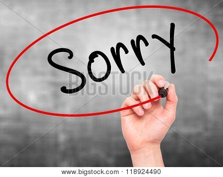 Man Hand Writing Sorry With Marker On Transparent Wipe Board