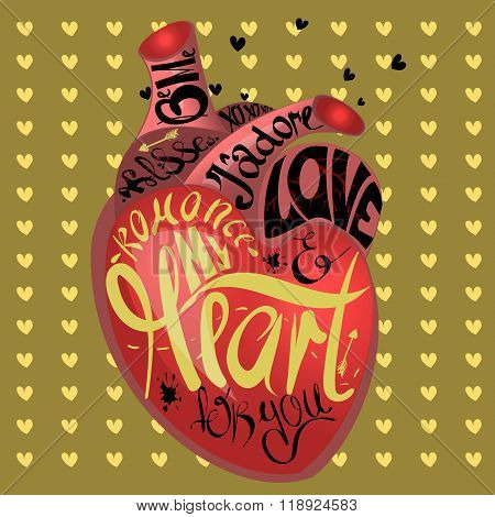 Drawing the human heart on gold background pattern of cartoon hearts, humor comic style. Gothic text