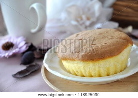 Sponge Cake On White Dish