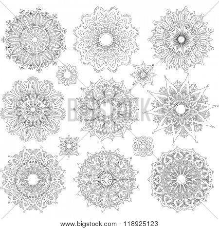 Set of Round Ornament Patterns