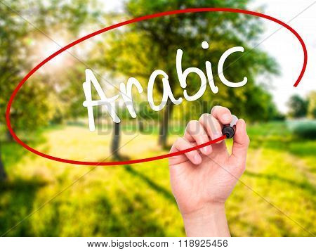 Man Hand Writing Arabic  With Black Marker On Visual Screen
