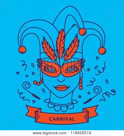 CARNIVAL COSTUME OUTFIT. Party portrait, line art, monoline style. Editable vector illustration file.