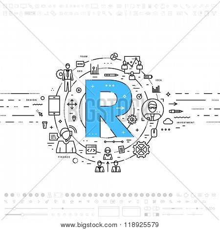 Alphabet Letter R. Flat Style, Thin Line Art Design. Set of application development, web site coding, information, mobile technologies, business icons and elements. Modern concept vectors collection