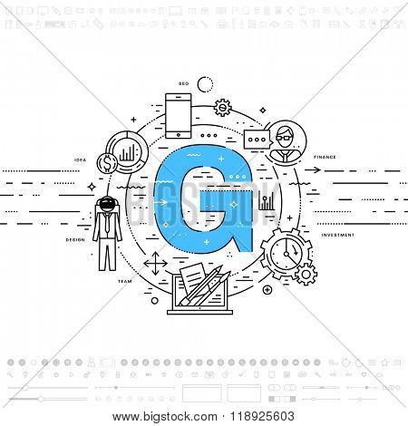 Alphabet Letter G. Flat Style, Thin Line Art Design. Set of application development, web site coding, information, mobile technologies, business icons and elements. Modern concept vectors collection