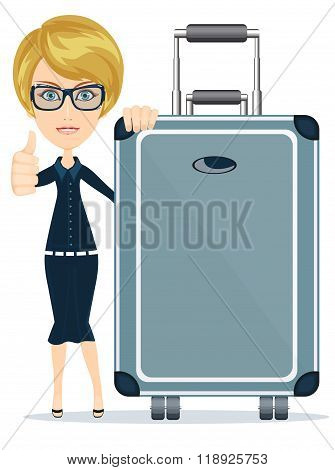 woman with big suitcase