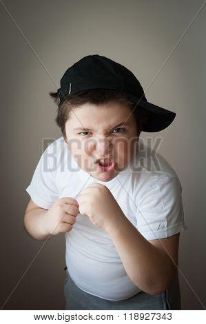 child fight boxing agression kid boy