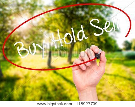 Man Hand Writing  Buy Hold Sell With Black Marker On Visual Screen