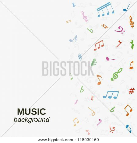 Vector music background with colorful notes.