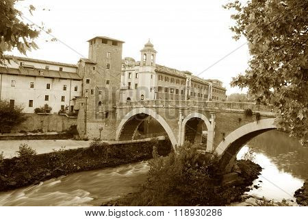 The Island Tiberina And The River Tiber - Rome - Italy