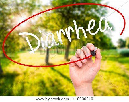 Man Hand Writing  Diarrhea  With Black Marker On Visual Screen