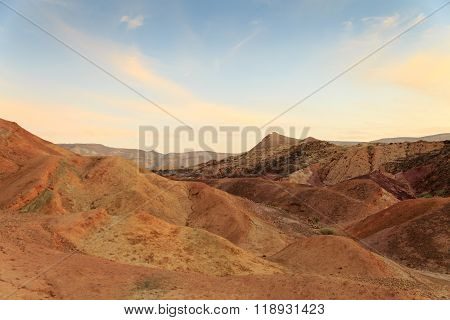 Coloured Sands At The Bottom Of The Big Crater Hamakhtesh Hagadol