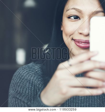 Beautiful Woman Chilling Lifestyle Using Smartphone Concept