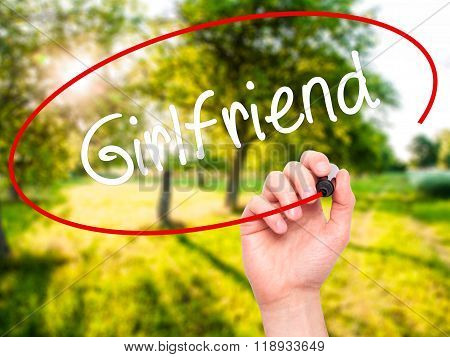 Man Hand Writing Girlfriend With Black Marker On Visual Screen