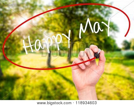 Man Hand Writing Happy May With Black Marker On Visual Screen