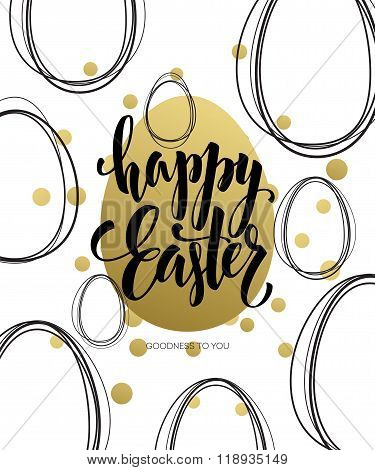 Happy Easter  Easter Golden Lettering Egg. Vector illustration