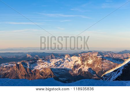 Panorama View Of The Bernese Alps From Jungfraujoch At Dusk