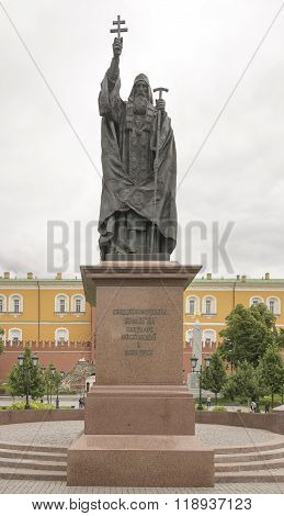 MOSCOW; RUSSIA- JULY 13- Monument to Patriarch Germogen in the Alexander Garden on July 13; 2015 in Moscow