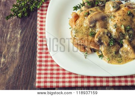 Chicken Meat With Mushroom Sauce And Thyme