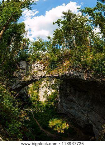 Natural rock bridge in Rakov Skocjan karst valley