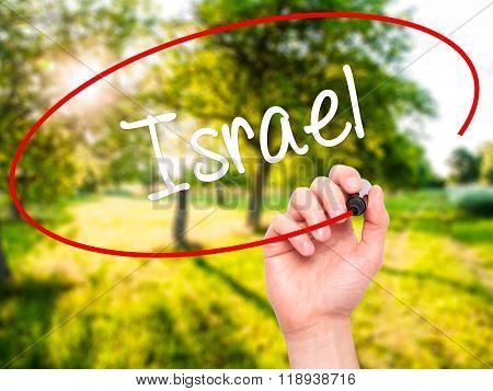 Man Hand Writing Israel  With Black Marker On Visual Screen