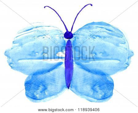 Watercolor Butterfly Monotype Print Water Texture Background
