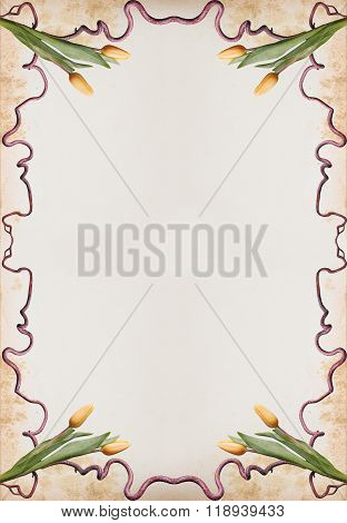Nostalgic Letter Paper With Mold Made Yellowed Frame And Tulips
