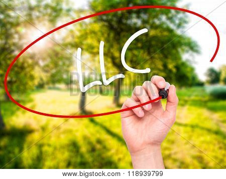 Man Hand Writing  Llc (limited Liability Company)  With Black Marker On Visual Screen