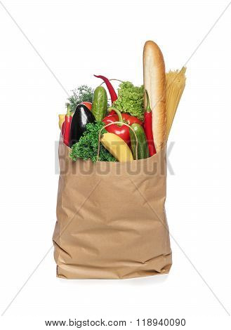 Paper bag with vegetables.
