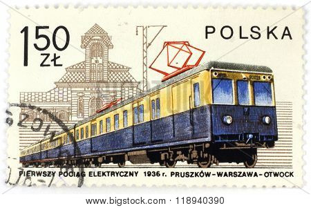 POLAND - CIRCA 1979: A postage stamp printed in Poland shows the first Polish electric train from 1936, circa 1979