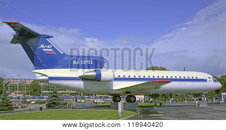 MOSCOW; RUSSIA- JULY 13- Plane JAK-42 on VDNH on July 13; 2015 in Moscow