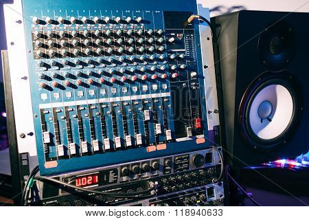 Sound producer audio controller. Dj studio system