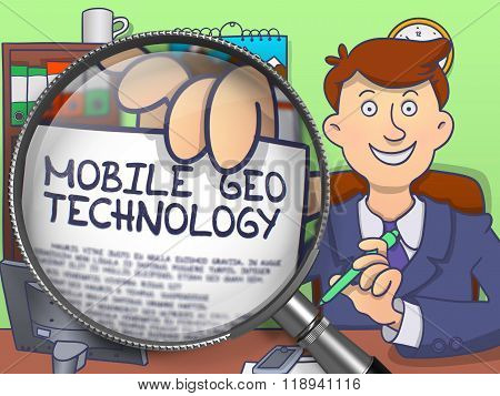 Mobile Geo Technology through Magnifier. Doodle Style.