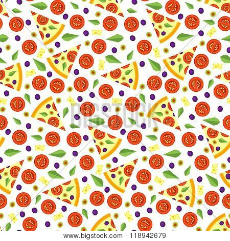 Seamless Pattern Of Pizza Slices With Ingredients
