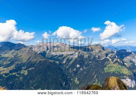 Panorama View Of The Swiss Alps From Mannlichen