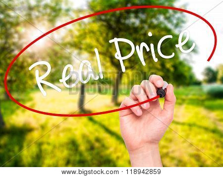 Man Hand Writing Real Price With Black Marker On Visual Screen
