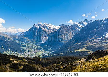 Panorama View Of Wetterhorn, Schreckhorn And Grindelwald